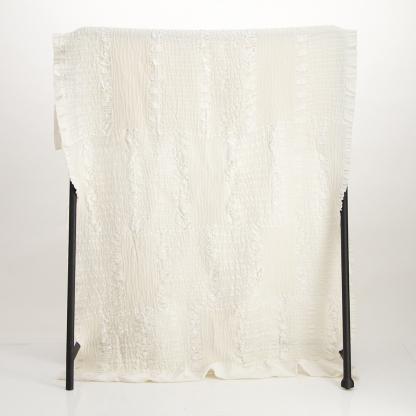 white cotton jacquard throw