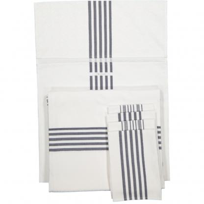jacquard napkin set white navy stripes