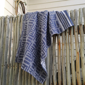 Kuba Cotton Waffle Hand Towels – Medium Blue