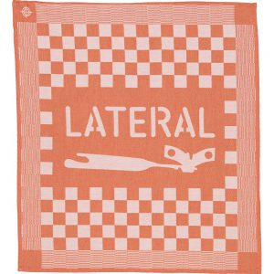 Customized orange tea towel jacquard woven with check pattern and Lateral logo