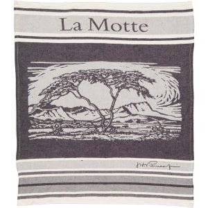 Jacquard woven linen tea towel with a customized pattern of African bush landscape and La Motte logo in gray scale