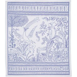 Jacquard woven linen tea towel with a blue pattern from Cape Town artist Micheal Chandler