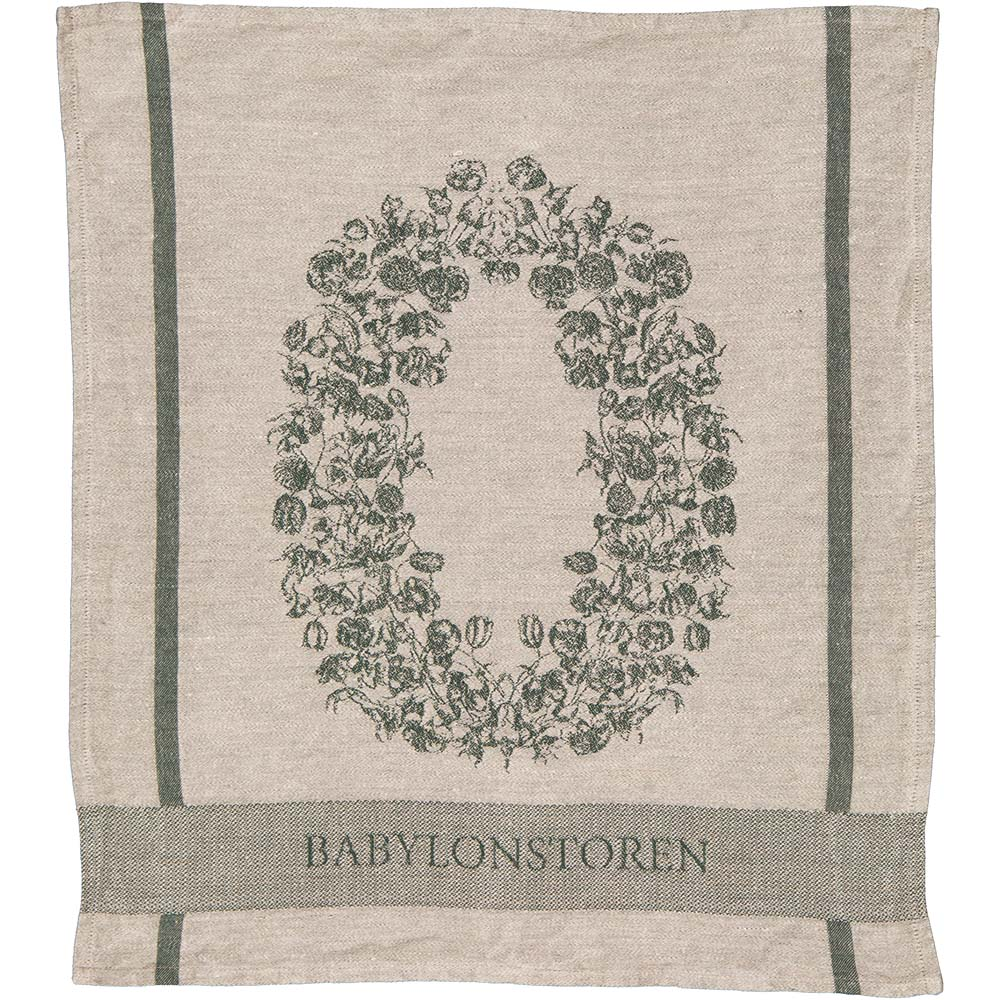 Customized linen tea towel with jacquard woven image of a flower crown and Babylonstoren logo
