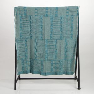 Bogolan Cotton Linen Throw – Teal on Natural