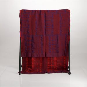 Bogolan Bedroom Cotton Throw – Blue on Red