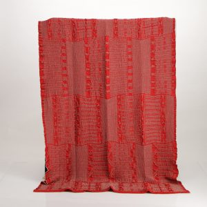 Bogolan Cotton Linen Throw – Linen on Red