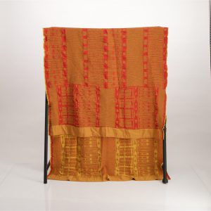 Bogolan Bedroom Cotton Throw – Yellow on Red