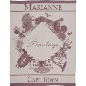 Customized tea towel with Marianne logo and designs in wine red