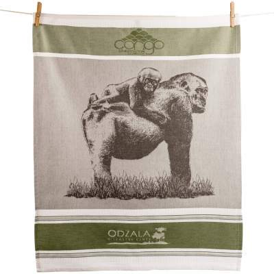 Customized tea towel with green lines framing a gray scaled image of a gorilla with a child on her back