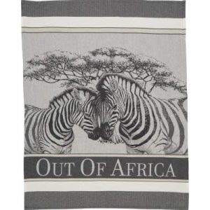 Tea towel in gray scale with a jacquard woven image of two zebras touching heads and the Out of Africa logo below