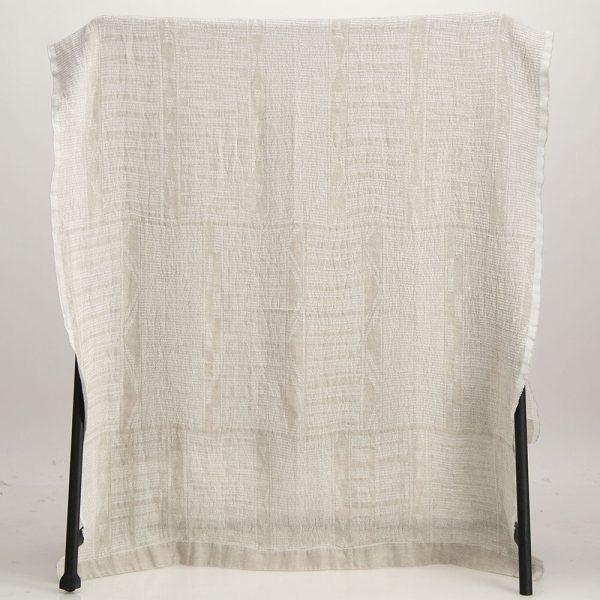 Jacquard woven Bogolan linen throw natural on white