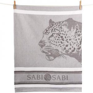 Customized cotton tea towel in gray scale with jacquard woven image of a leopard head facing sideways and Sabi Sabi logo at the bottom