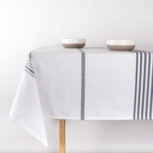 Custom size Jacquard woven cotton tablecloth with navy stripes and African designs