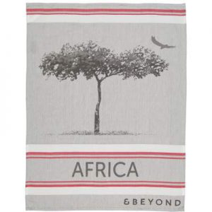 Jacquard woven tea towel with red and white lines framing a single tree