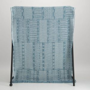 Bogolan Cotton Linen Throw – Teal on White
