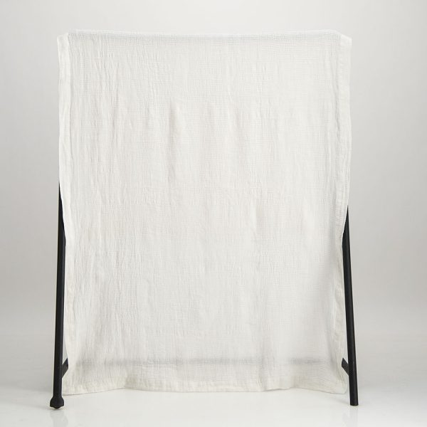 Jacquard woven Bogolan linen throw off white on white