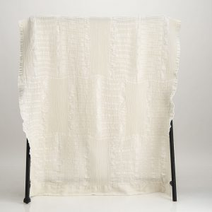 Bogolan Cotton Linen Throw – Linen on Ecru