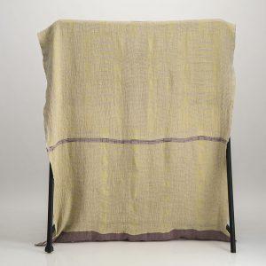 Bogolan Linen Throw – Mustard Purple on Natural