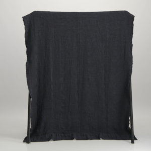 Bogolan Linen Bamboo Throw – Dark blue on Charcoal