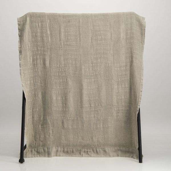 Natural linen Bogolan throw blended with bamboo