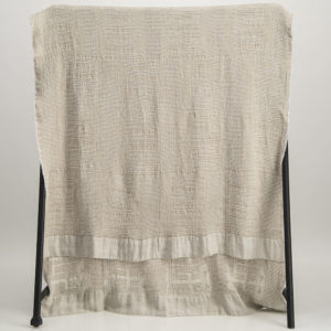 Bogolan Linen Bamboo Throw – White on Natural