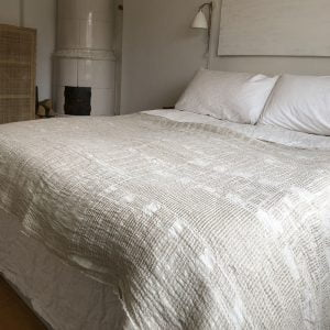 Bogolan  Bedroom Linen Throw – Natural on White