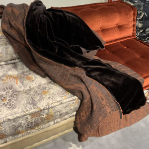 Bogolan Linen Throw – Rust on Charcoal, Faux fur