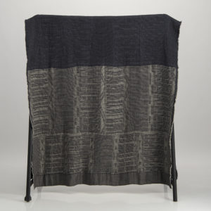 Bogolan Linen Bamboo Throw – 4 Natural 1 Blue on Charcoal