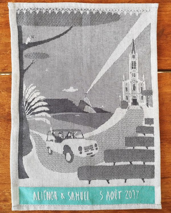 Personalized jacquard woven linen tea towel with wedding motif