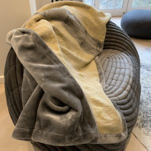 Bogolan  Bedroom Linen Throw – Mustard Grey on Natural, Faux fur