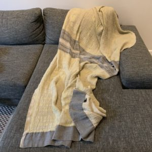 Bogolan Bedroom Throw – Mustard Grey on Natural