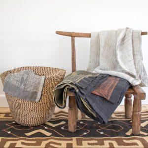 100% Linen Bogolan Lounge Throws
