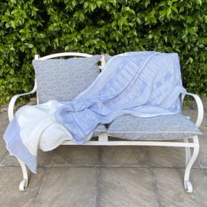 Bogolan Lounge Throw – Light blue on White