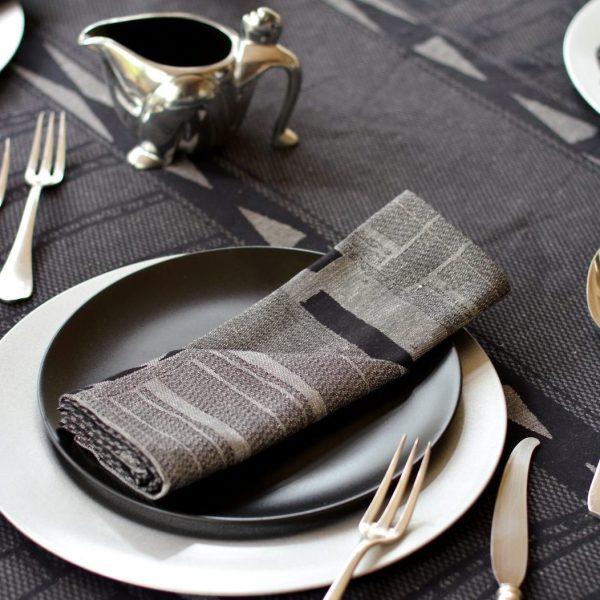 metallic bogolan tablecloth silver