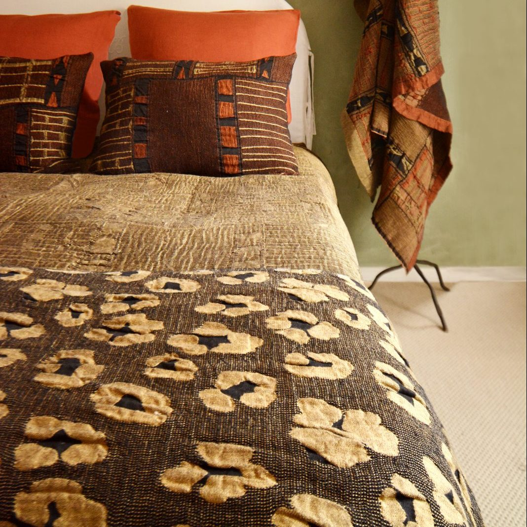 metallic leopard gold throw
